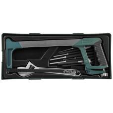 Набор инструмента ножовка, разводной ключ, зубила и выколотки, 14 предметов (ложемент)