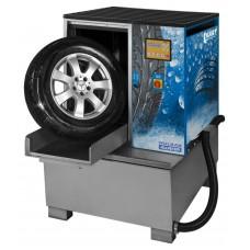 Мойка для колес легковых и грузовых автомобилей, с пневматической стабилизацией колеса и подогревом