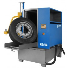 Мойка для колес грузовых автомобилей, с пневматической установкой загрузки колеса и подогревом